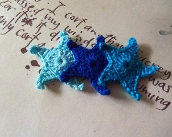 12 Blue Tone Starfish Crochet Appliques