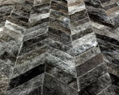 LIFESTYLE by Cara  --  Charcoal Grey Chevron Custom Cowhide Patchwork Rug Cow Hide Leather Hairhide Carpet