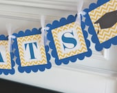 "Yellow Gold & Royal Blue Chevron Polka Dot - ""Congrats"" High School or College Graduation Cap Gown Banner - Or Choose Your School Colors"