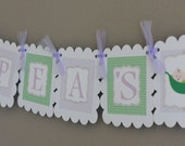 """Twins Sweet Pea """"Two Peas in a Pod"""" Baby Shower Banner Lavender Purple and Green - Matching Toppers, Tags, & Door Sign Available"""
