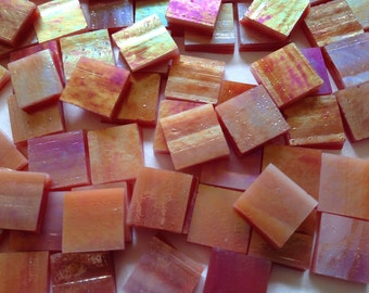 Mosaic Tiles - 100 Small Squares - Iridescent Pomegranate Sunset Stained Glass - Hand-Cut