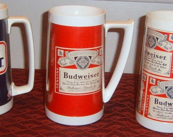 Vintage Budweiser mug Made in USA by West Bend Thermo-Serv, Inc.  Three Mugs