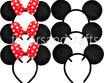 Set of 16 Minnie Mouse Ears, Mickey Mouse Ears RED Bows, Minnie Ears, Mickey Ears, Minnie Headbands, Mickey Headbands, Birthday Favors