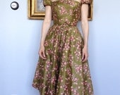Reserved for fei  1950s Cocktail Dress / 50s Wedding Dress / Mad Men Dress / Floral / Pink / Green / Dress / Dresses / Wedding / Couture