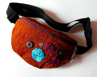 SALE*** 50% OFF in June*** fanny pack/hip bag - brown, turquoise and lilac (big size)