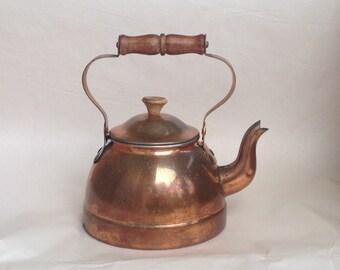 Vintage Copper Teapot Kettle with Wooden Handle