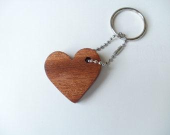 heart  keychain wood mahogany  scroll saw