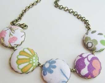 Get ready for Spring- bright coloured fabric button necklace