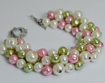 Pearl Bracelet, Green, Pink and Ivory Cluster Bracelet, Chunky Bracelet, Green and Pink Bridal Jewelry, Bridesmaids gift, Bridal Jewelry