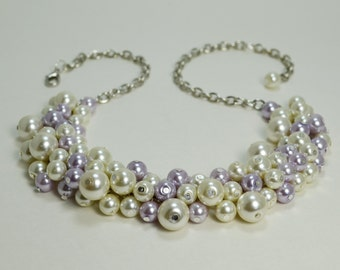 Pearl Necklace, Ivory and Lilac Pearl Necklace, Periwinkle Chunky Necklace, Pearl Bridal Jewelry, Bridesmaid Jewelry, ,Lavender and Ivory