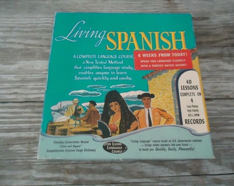 Boxed LP Records 1955 Living Spanish Language Course 40 Lessons on 4 LP 33 1/3 Records and Manual