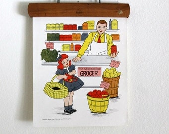 vintage 1950's classroom poster --People in the Neighborhood -The Grocer --Hayes School Publishing, educational poster