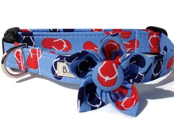 Flip Flops Dog Collar and Flower Set for Small to Large Dogs
