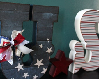 Large USA letter set with Stars Americana Colors--READY to SHIP