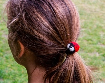 Ladybird Ladybug Hair Tie Cute Felted Red Wool Bobble Elastic Loop For Ponytail