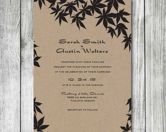 Wedding Invitation - DIY Printable Wedding Invite - Maple Leaf Design Wedding Invitations - Fall Wedding Invitation
