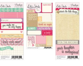 50% Off - Elle's Studio - Penelope Cutouts, Lil Snippets Labels & For the Record (Includes 3 sheets)  -- MSRP 3.00
