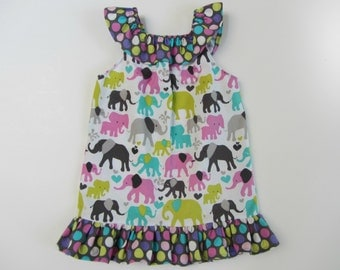 Boutique Girls Elephant Ruffle Neck Dress  sizes 3 to 6 months, 6 - 12, 12 - 18, 18 - 24, 2, 3, 4, 5, 6, 7/8, 9/10 years