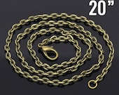 """4 Bronze Necklaces - Flat Cable Link Chain  - 20"""" -  Ships IMMEDIATELY from California - CH496"""