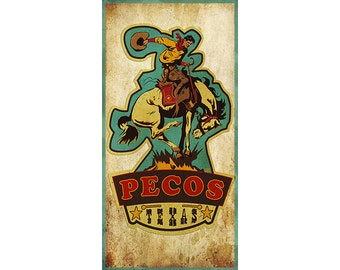 Pecos, Texas, Historic towns, First Rodeo, Horses, Cowboys, Souvenir Posters