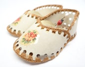 Vintage Shoes Pin Cushion, Hand Made, Floral Decals
