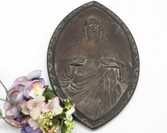 Early 1900 Italian Jesus Bronze Memorial, Antique Plaque