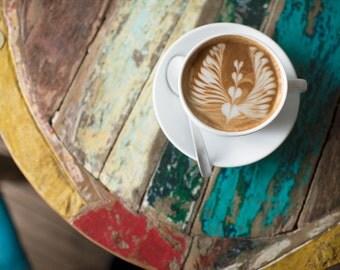 Paris Cafe Photograph - La Caféoteque, French Cafe, Latte Art, Kitchen Decor, Large Wall Art, Home Decor