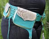 Teal & Snakeskin Leather 3-pocket Hip Belt with tassels