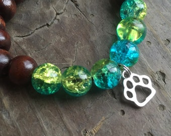 For kids yogi inspired wood bead worry meditation bracelet with paw print charm, brown wood and crystal glass beads