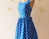 A Carnival - Royal Blue Dress Summer Dress Azure Dress Blue Sun Dress Retro Dress Retro Dress Dancing Tea Party Dress - XS-XL,Custom