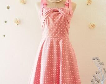 Candy Party - Tea Party Dress Pink Polka Dot Dress Ribbon Strap Swing Dress Pink Vintage Dress Pink Retro Summer Dress -Size XS-XL,Custom