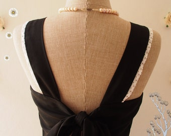 Black Backless Dress Vintage Modern Dress Little Black Dress