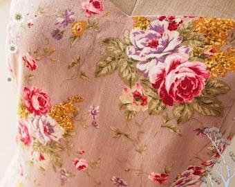 Exotic Floral dress Swing Dress Vintage Inspired Dress Bridesmaid Dress Floral Party Dress Light Graylish Purple Rose Floral- Size XS-XL