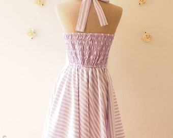 READY TO SHIP- The Circus Party Dress - Pastel Purple Dress Lavender Dress Halter Dress Vintage Sun Dress Bridesmaid Dress -Size S
