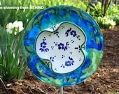 SALE Garden and Yard sun catcher, Handmade Outdoor Art, recycled glass garden plate sculpture