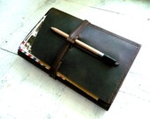 Large moleskine cover. Moleskine leather case. Travel journal cover. Notebook cover. Espresso leather organizer