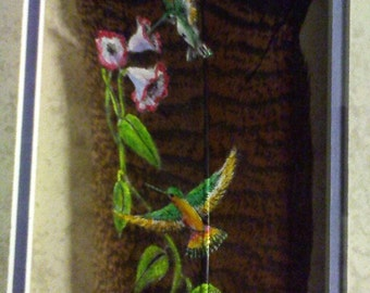Hand Painted Feather- Hummingbird