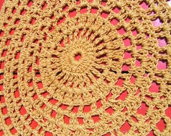 Two 1950's Harvest Gold Dollies Folk Art 12 Inch Linen