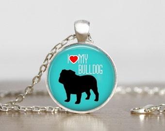 I Heart My English Bulldog Dog Pendant Necklace