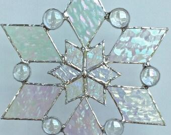 stained glass snowflake suncatcher (design 2)