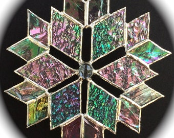 stained glass snowflake sun catcher  (design 7)