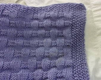 Hand Knit Tweed Pattern Baby Blanket with Hand Crocheted Edge