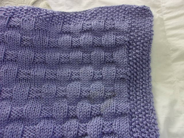 Basket Weave Pattern Knitting Afghan : Hand knit baby blanket basket weave pattern lavender blue