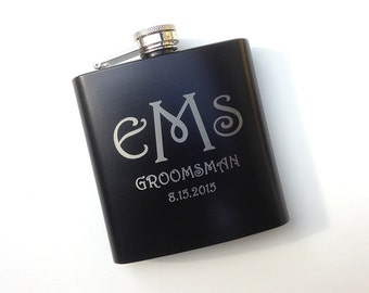 1 Flask, PersonalizedGift, Engraved Hip Flask, Etched Whiskey Flask, Best Man Gift, Bridal Party, Wedding Party Gift, Personalised