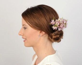 Pink Flower Hair Comb, Wedding Hair Piece, Floral Head Piece, Flower Fascinator, Rustic Bridal Comb, Wedding Hair Accessory, VelvetTeacup