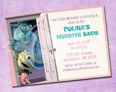Mike Sulley and Boo Monster Inc Birthday Invitation
