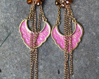 B.L.A.Z.E.. - Gold & Pink Exotic Chain Earrings