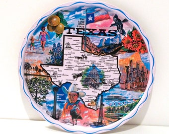 Texas Serving Tray Vintage Ken Haag State of Texas Decorative Plate Lone Star State Cowboy Padre Island Oil Well Rodeo Alamo Big Bend
