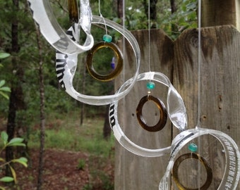 Glass Wind Chimes from RECYCLED bottles, eco friendly ,corona brown, wind chime, garden decor, wind chimes, musical, home decor, mobile