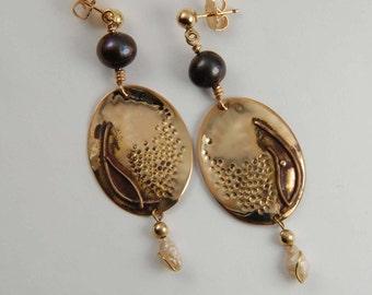Large Metalwork Earrings Rustic Gold Earrings Boho Earrings Gold Statement Jewelry Art Jewelry Boho Jewelry